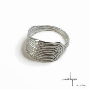 bague nid empreinte digitale en argent massif 925, bijou de créateur, bague artisanale, Maä bijoux, bijou écologique