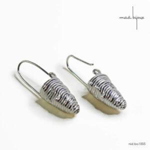 boucles d'oreilles pendantes, cocon en argent massif recyclé, bijou fait main en France, Maä bijoux