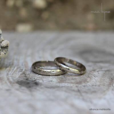 alliance maä en or blanc, modèle météorite pour homme et pour femme, métal recyclé, bijoux écologique fait main en France, mariage éthique