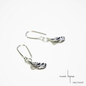 Boucles d'oreille pendantes en argent massif recyclé, Bijou minimaliste inspiré de la nature, Boucles d'oreilles simples sans nickel