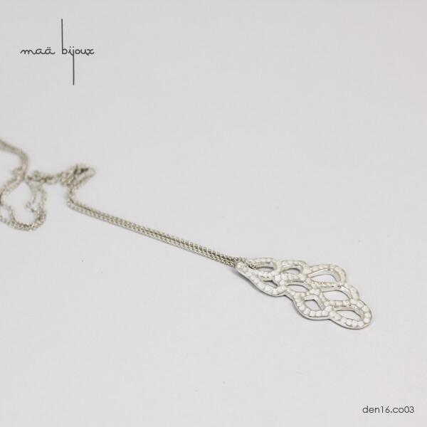 collier dentelle en argent massif recyclé, bijou écologique, bijou de createur