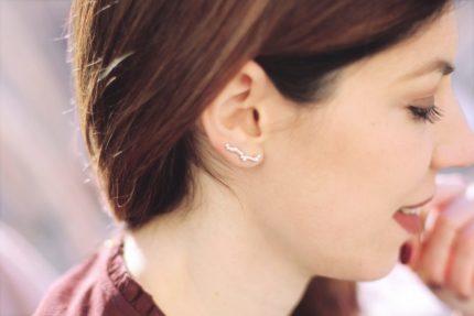 bijoux d'auteur, bijoux d'oreille en argent massif, blogueuse morgane pastel, bijoux fait main