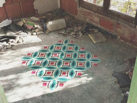 pochoir azulejos floor javier de riba