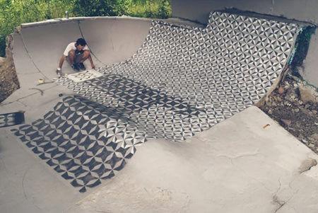 peinture au sol azulejos d'un squatte parck abandonné
