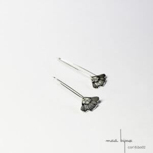 boucles d'oreille en argent massif 925 recyclé, boucles pendante fleur, bijoux ecologique maä bijoux