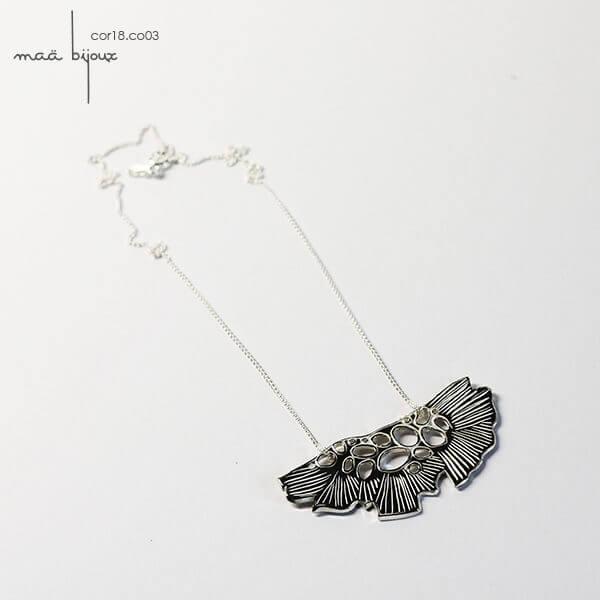 Maä bijoux, collection corolle, sautoir en argent massif recyclé, bijou fabriqué en France artisanalement, cor18.co03