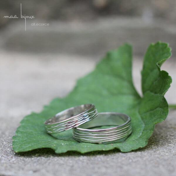 alliance motif écorce pour homme et pour femme en argent massif recyclé, bijoux maä, bijoux écologique fait main en France, mariage éthique