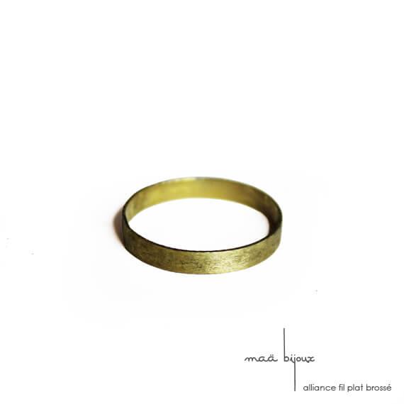 Alliance maä en or jaune 18 carats brossé recyclé, modèle Ruban, inspiration minimaliste, pour homme et femme