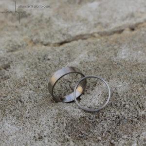 iance maä en or blanc recyclé 18 carats, modèle ruban, inspiration minimaliste, bijoux écologique fait main en France, mariage éthique