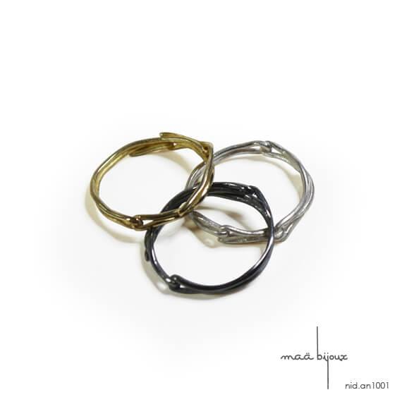 Alliance maä en trois couleurs, modèle Nid, inspiration de la nature, bijou écologique en métal recyclé, bagues tressées metal mixé