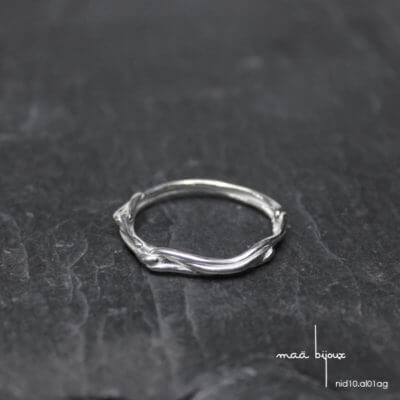 Alliance maä en argent massif 925 recyclé, modèle nid, inspiration de la nature bijoux écologique fait main en France, mariage éthique