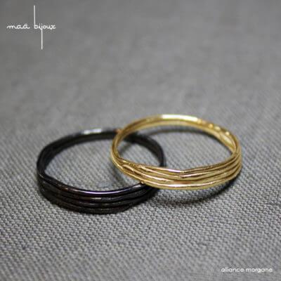 Alliance maä en or jaune 18 carats recyclé, modèle Morgane, inspiration de la nature, bijoux écologique fait main en France, mariage éthique