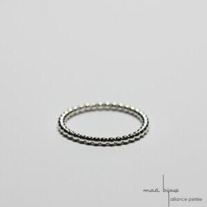 Alliance maä en argent massif 925 recyclé, modèle perlé, inspiration de la nature, bijou écologique