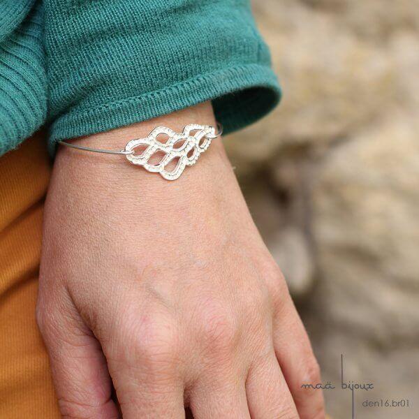 bracelet delicat en argent massif ajouré, argent massif recyclé, bijoux écologique, maä bijoux fabriqué en France