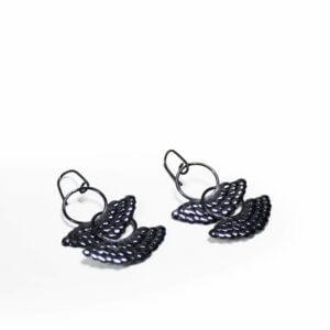 boucles mobile double en argent massif oxydée recyclé, fabiqué en france à la main. bijoux maä bijoux écologique