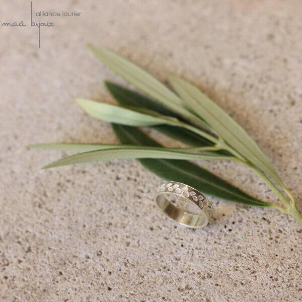 Alliance Maä bijoux en argent recyclé pour homme et femme, feuille olivier alliance écologique, petit créateur fait main en France, ethique