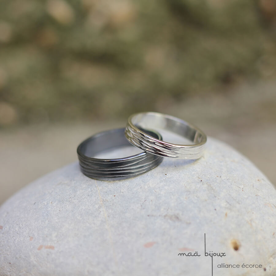 Alliance Maä bijoux en argent recyclé pour homme et femme, écorce d'arbre alliance écologique, petit créateur fait main en France, ethique