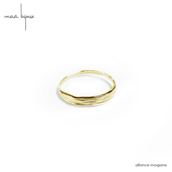 Alliance Maä bijoux en or jaune recyclé, fil enroulé, alliance écologique, petit créateur fait main en France, ethique