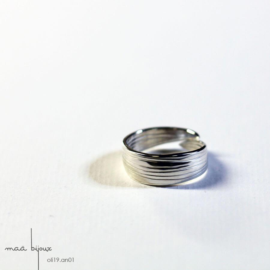 bague inspiré de la feuille d'olivier en argent massif recyclé, bijou écologique, bijou stylisé épuré, mariage champêtre, maa bijoux