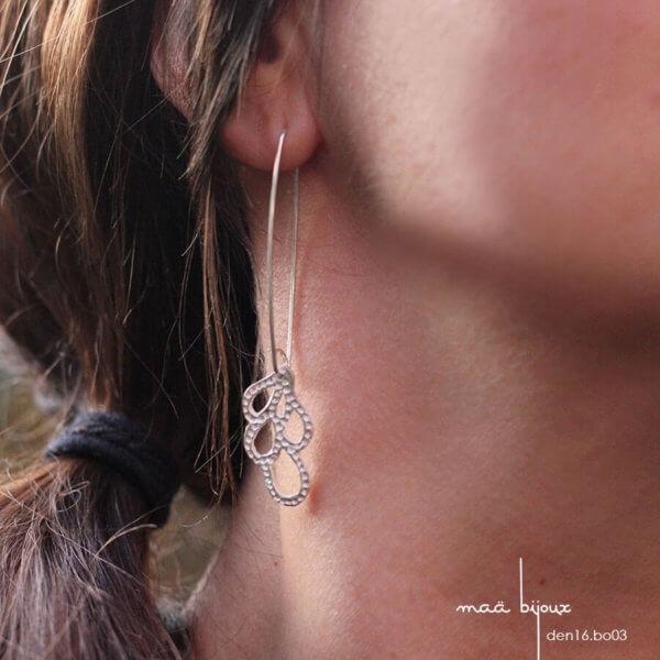 maa bijoux - boucles d'oreille pendnates en argent massif recyclé - boucles longue fabriqué en france - den16.bo03
