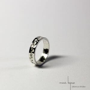 Alliance étoile en argent recyclé, alliance ruban pour hommes et femmes, bague de mariage minimaliste et simple