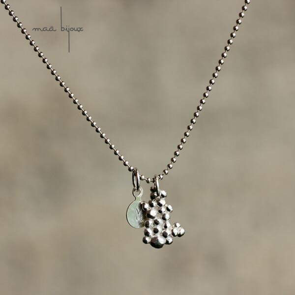 pendentif charm à breloque en argent massif recyclé, maa bijoux