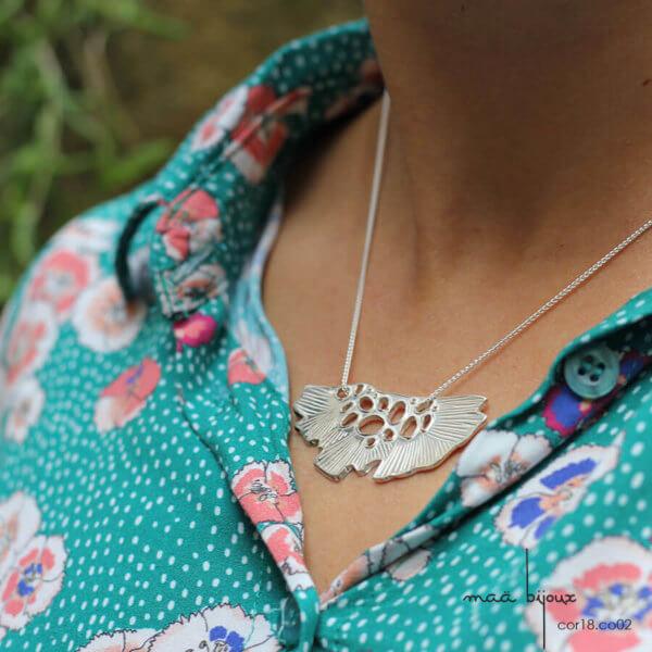 Maa bijoux collier en argent massif recyclé, bijou écologique et éthique, artisanat local fait en france cor18.co03