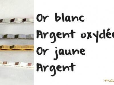 Différence de couleur entre l'Or jaune, blanc, l'argent blanc et noir