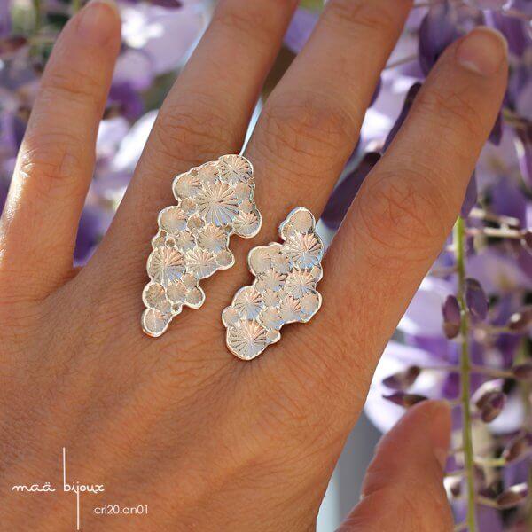bague motif coraux de la collection corail inspiré de la nature fabriqué en france en argent massif recyclé, bijoux écologique, maä bijoux