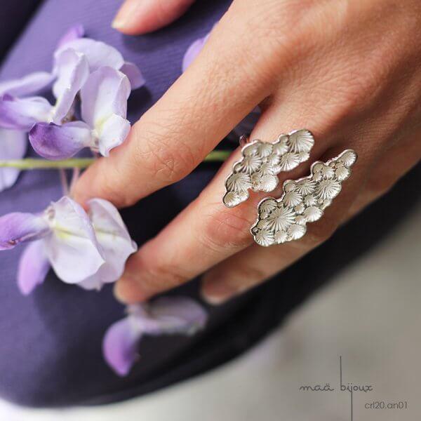 bague étoiles de la collection corail inspiré de la nature fabriqué en france en argent massif recyclé, bijoux écologique, maä bijoux