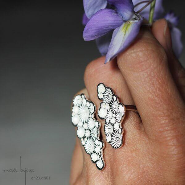 bague sur 3 doigts de la collection corail inspiré de la nature fabriqué en france en argent massif recyclé, bijoux écologique, maä bijoux
