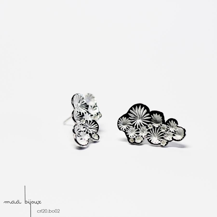 Boucles d'oreille puce longue de la collection corail inspiré de la nature fabriqué en france en argent massif recyclé, bijoux écologique, maä bijoux