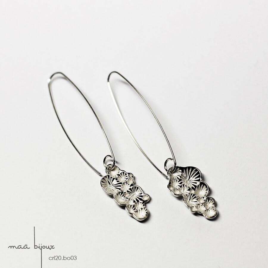 Boucles d'oreille pendantes longues de la collection corail inspiré de la nature fabriqué en france en argent massif recyclé, bijoux écologique, maä bijoux