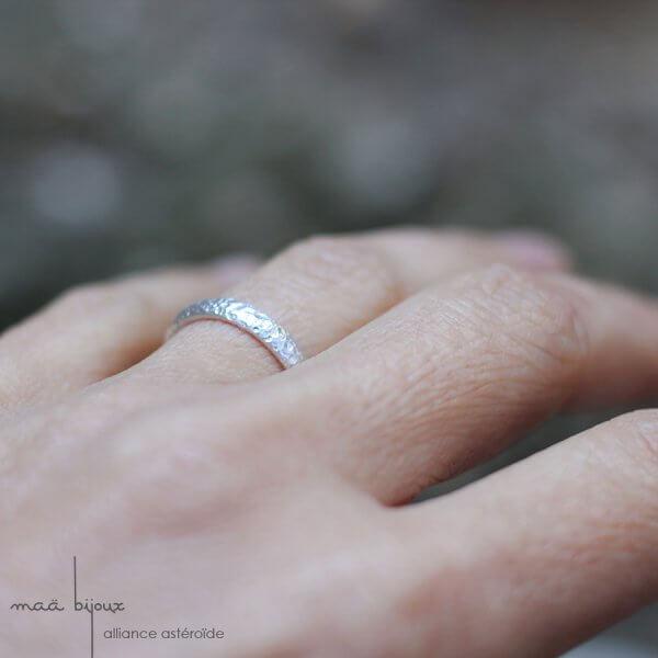 Maä bijoux d'artisane, alliance astéroïde en argent massif recyclé, alliance pour homme et pour femme, bijou écologique